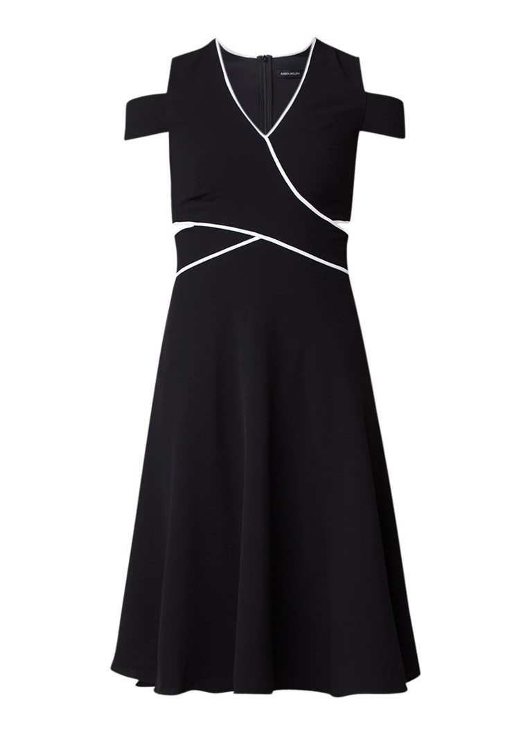 Karen Millen A-lijn jurk met cold shoulder en contrastbies zwart