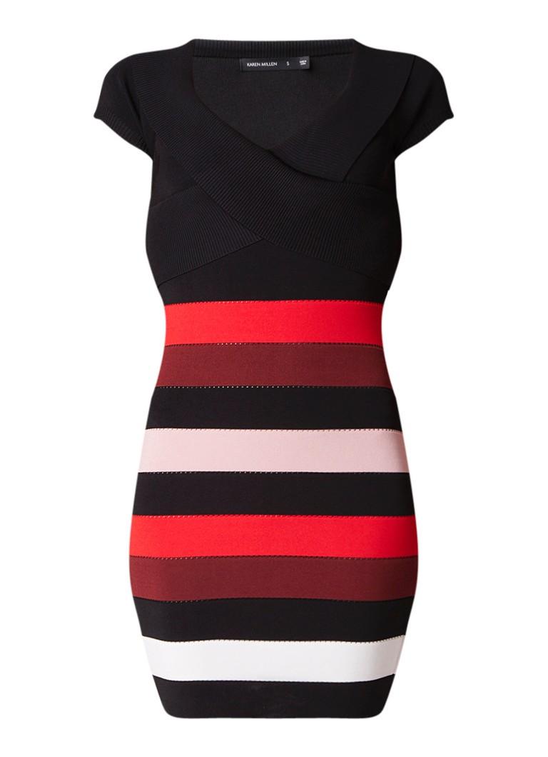 Karen Millen Mini-jurk met streepdessin zwart