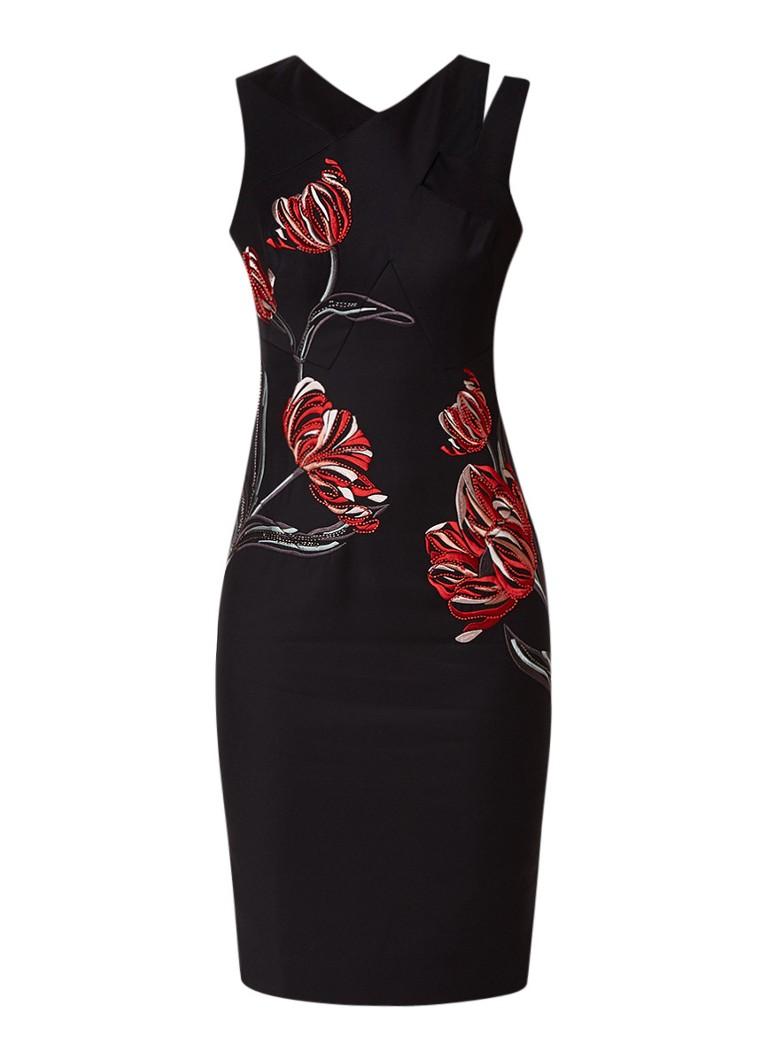 Karen Millen Bodycon jurk met met deelnaden en borduring creme