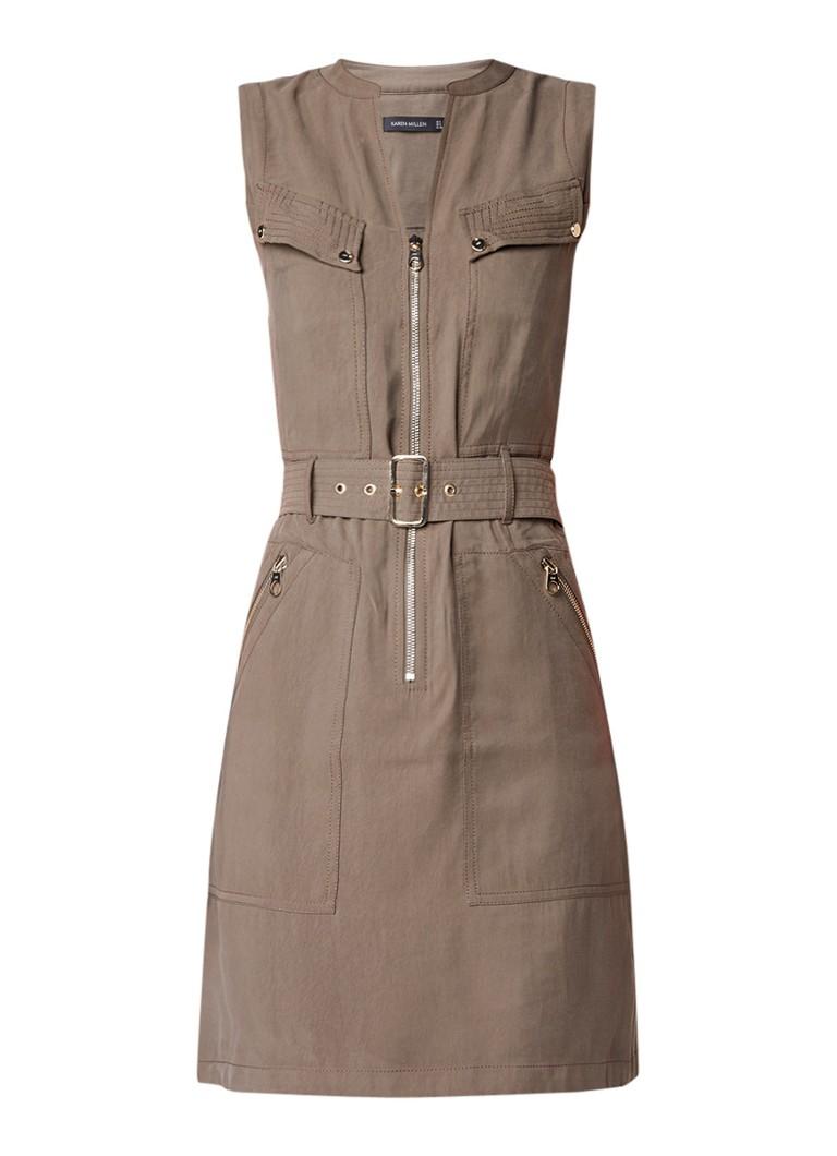 Karen Millen Midi-jurk met military look en tailleceintuur legergroen