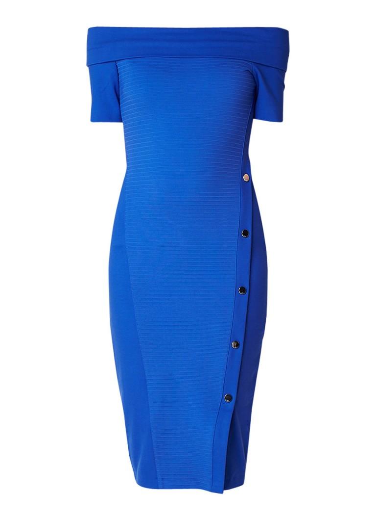 Karen Millen Sassy off shouler kokerjurk met drukknopen kobaltblauw