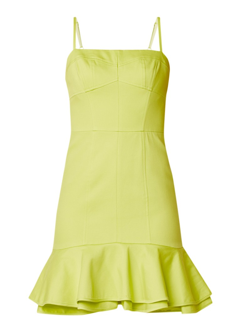 Karen Millen Techno Sun Fun mini-jurk met volants lime