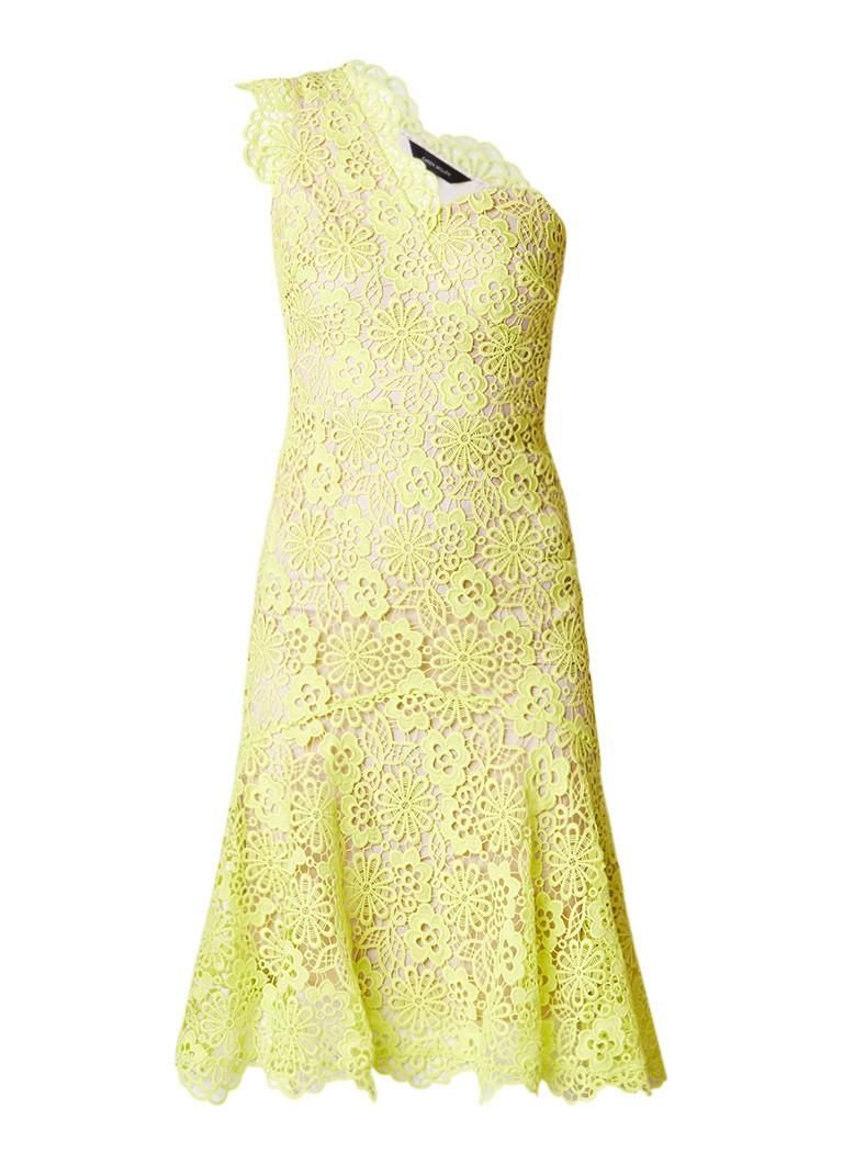 Karen Millen One shoulder jurk van gebloemd kant neongeel