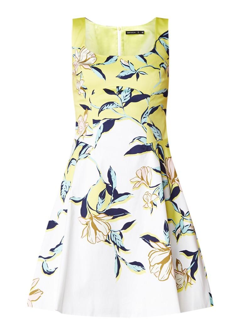 Karen Millen Magnolia A-lijn jurk met bloemendessin lime