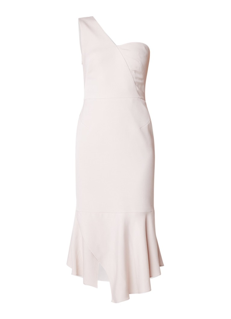 Karen Millen Asymmetrische one shoulder jurk met volant lichtroze