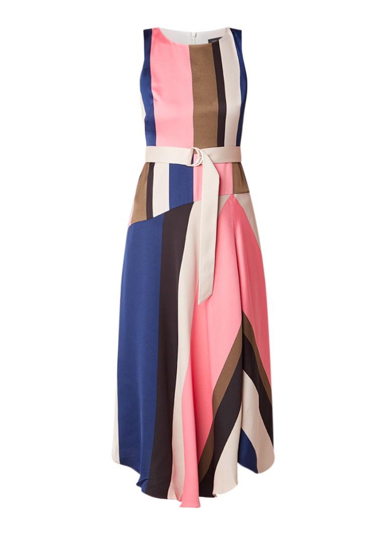 Karen Millen A-lijn jurk van satijn met streepdessin multicolor