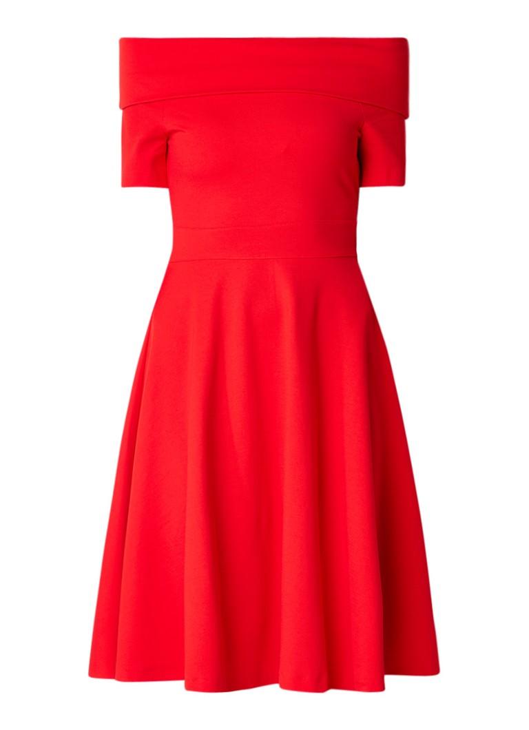 Karen Millen A-lijn off shoulder jurk van jersey rood