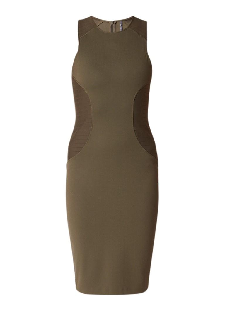 Karen Millen Bodycon jurk van jersey met doorstiksels donkergroen