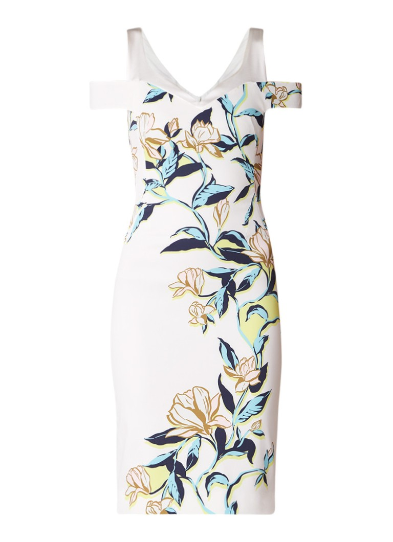 Karen Millen Magnolia bodycon jurk met bloemendessin wit