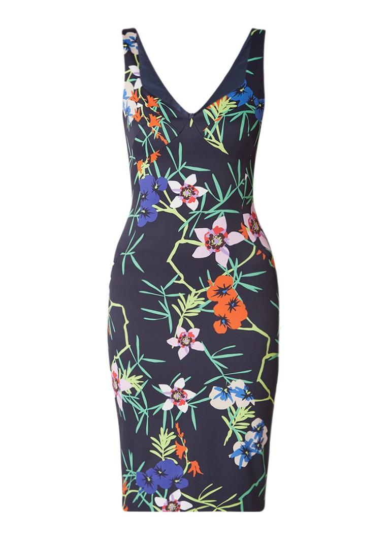Karen Millen Bodycon jurk met bloemendessin donkerblauw