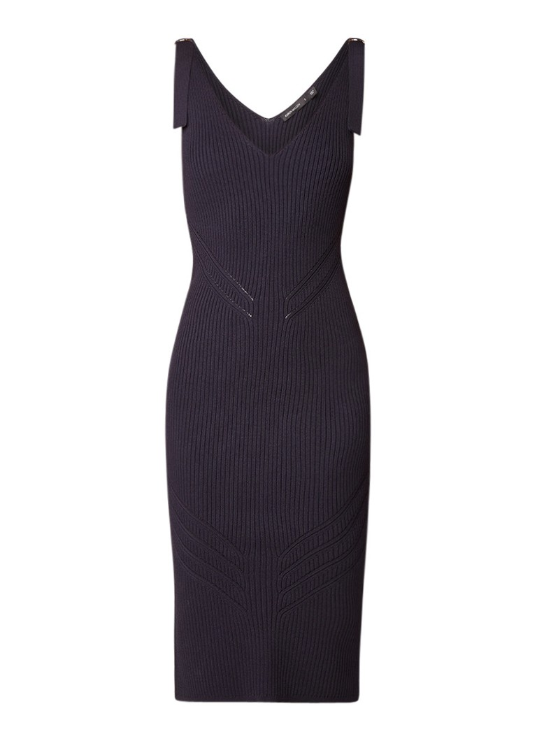 Karen Millen Ribgebreide midi-jurk met gespdetail donkerblauw