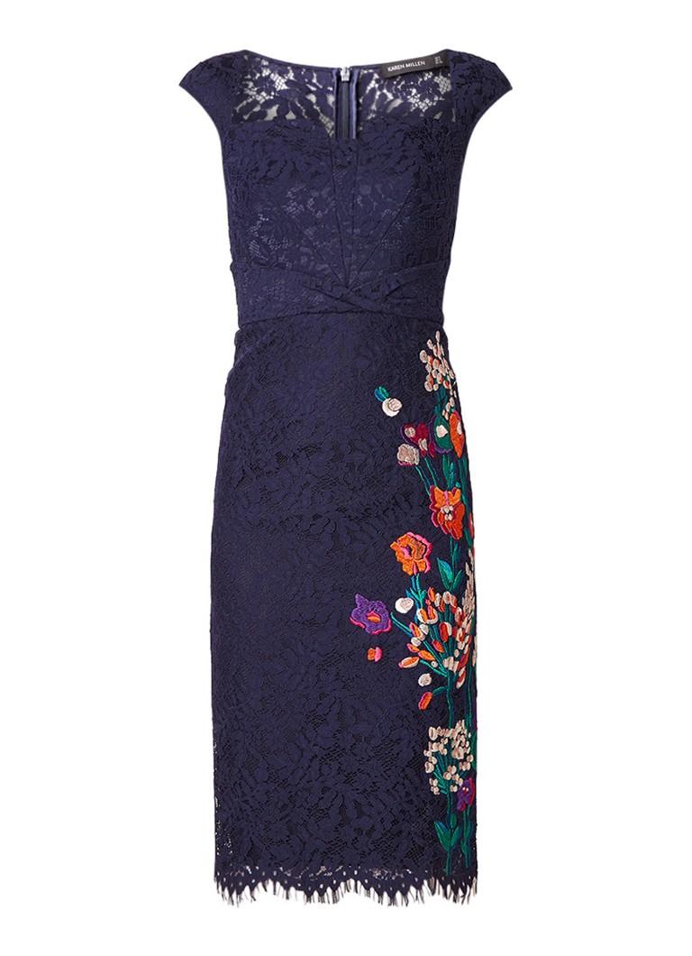 Karen Millen Kokerjurk van kant met bloemenborduring donkerblauw