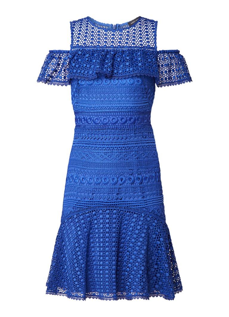 Karen Millen Cold shoulder jurk met volant en broderie royalblauw
