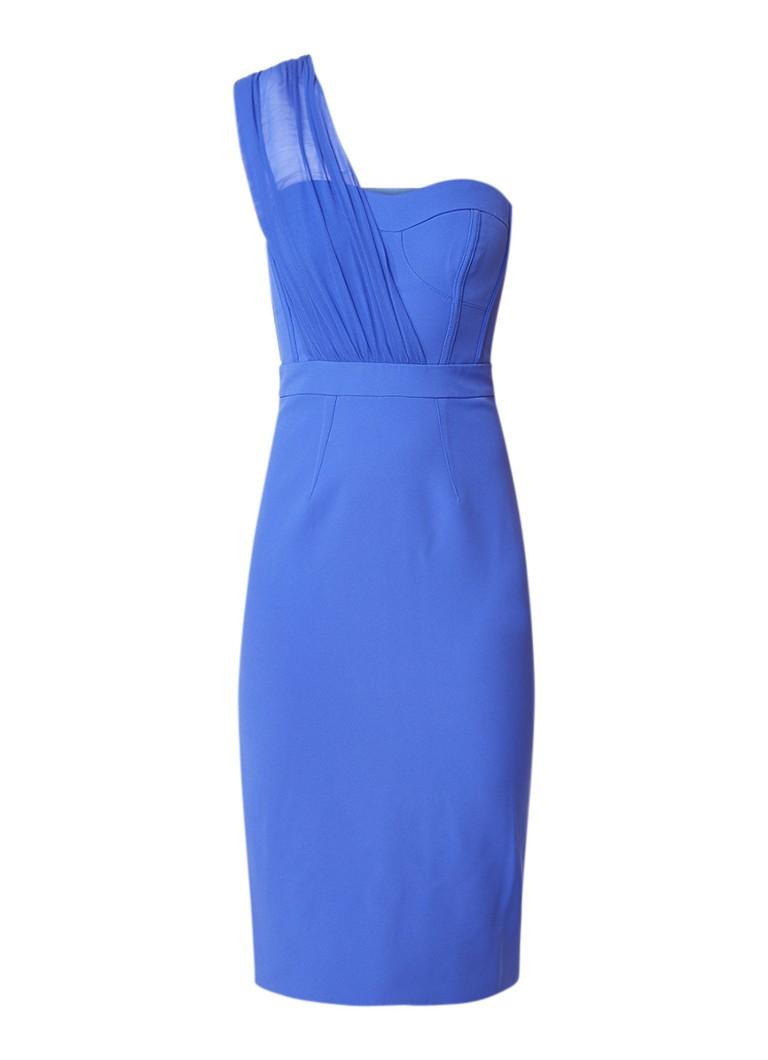 Karen Millen One shoulder bodycon jurk met contrast van zijde royalblauw