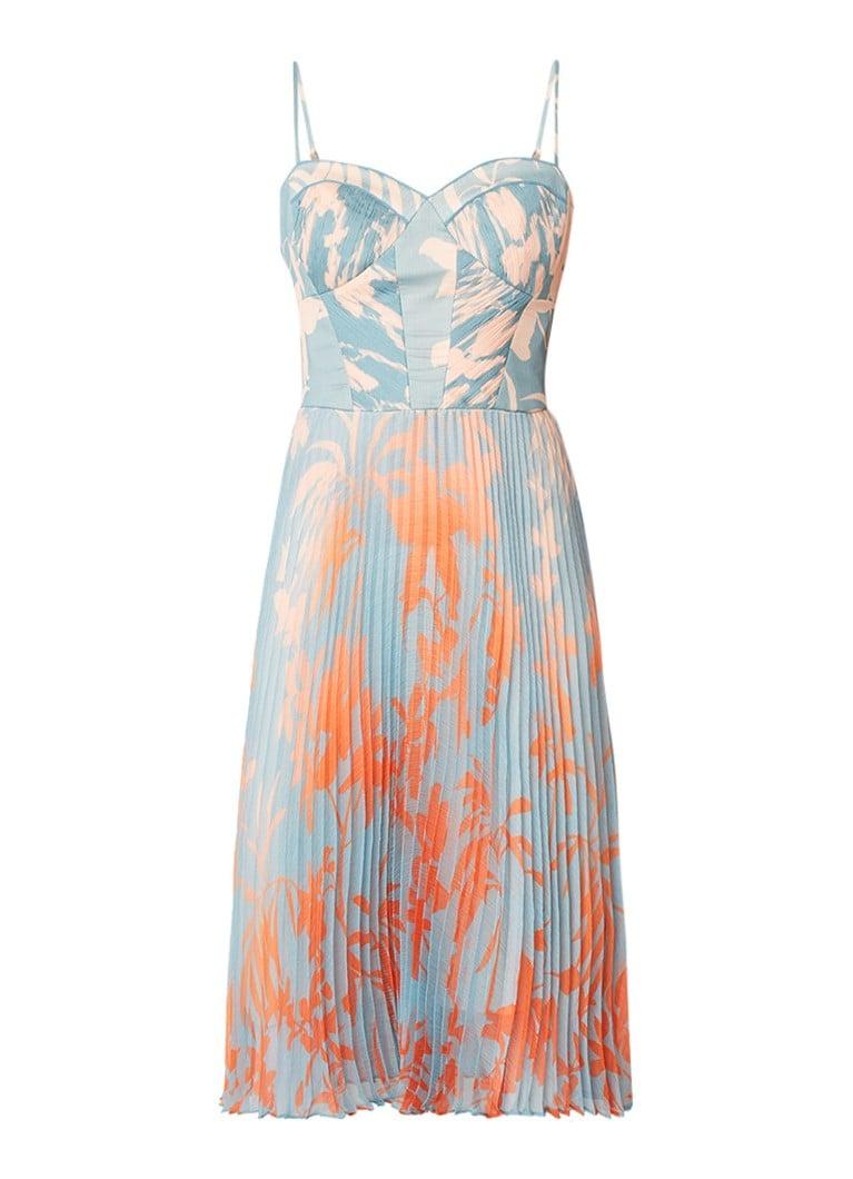 Karen Millen A-lijn jurk met plissé en print lichtblauw