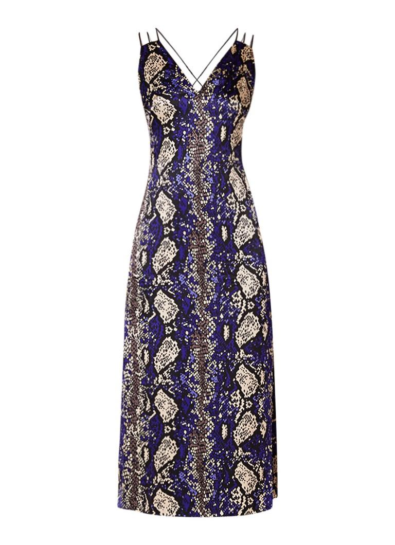 Karen Millen Maxi-jurk met slangenprint en zijsplit kobaltblauw