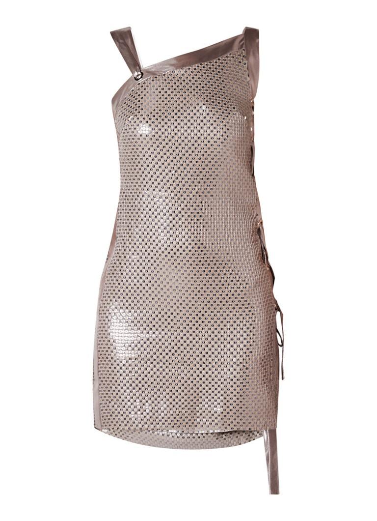 Karen Millen Mini-jurk met pailletten en eyelet detail zilver
