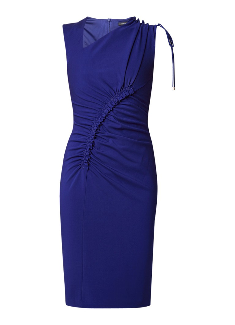 Karen Millen Asymmetrische kokerjurk met draperie kobaltblauw