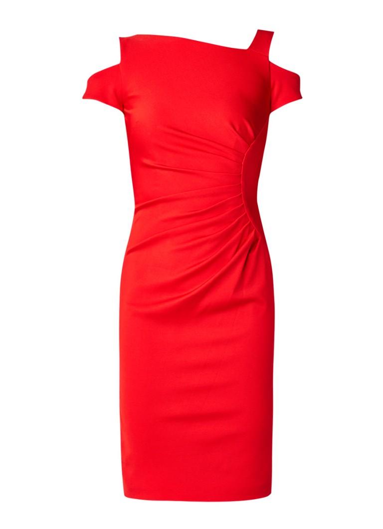 Karen Millen Cold shoulder kokerjurk met plooidetail rood