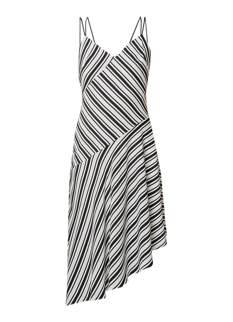 Karen Millen Asymmetrische A-lijn jurk met streepdessin zwart