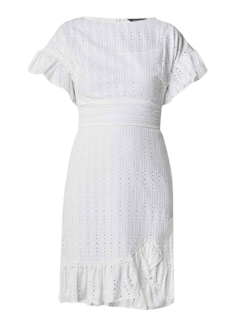 Karen Millen A-lijn jurk van broderie met volant wit