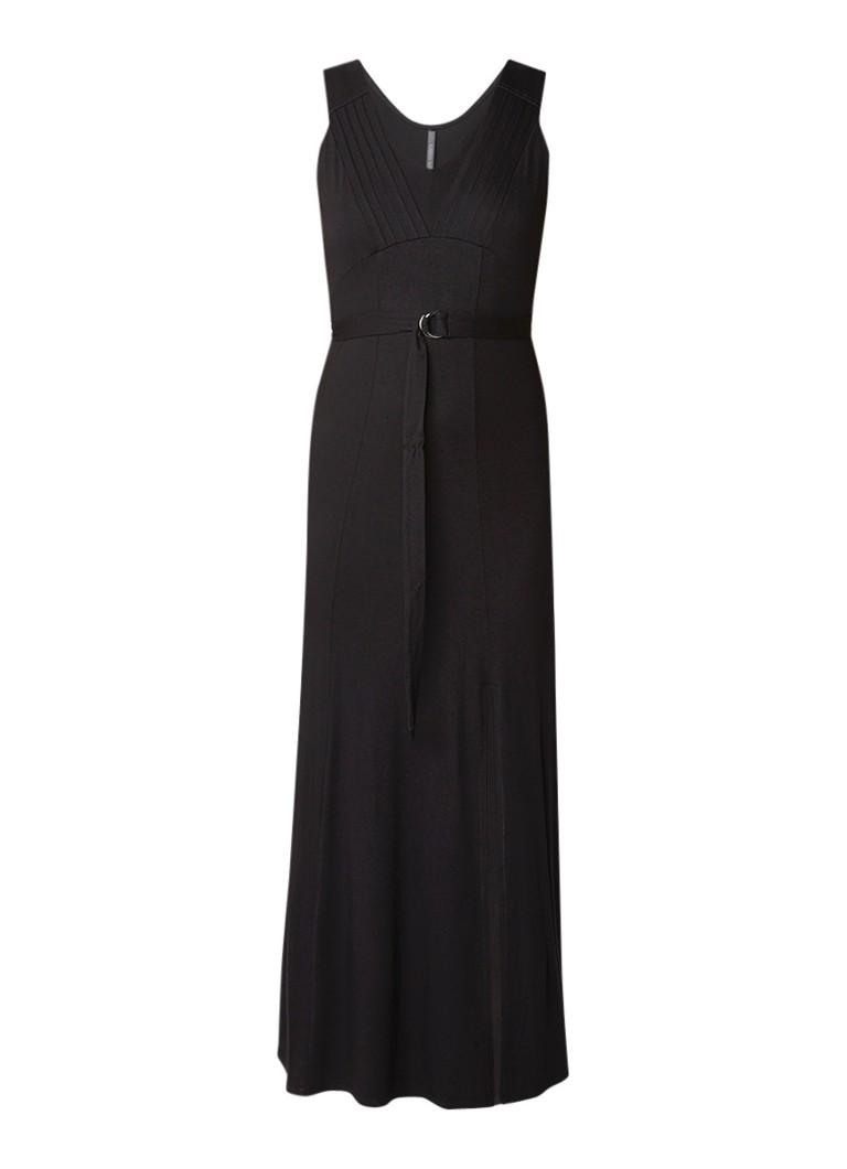 Karen Millen Maxi-jurk met plooidetail en ceintuur zwart