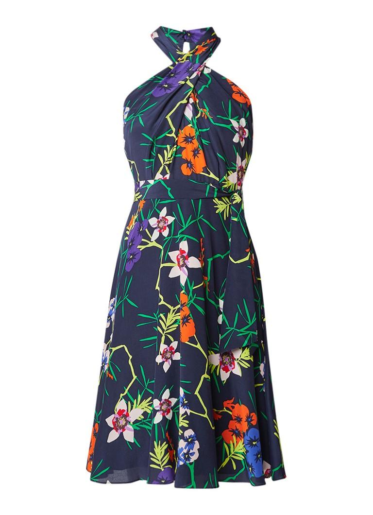 Karen Millen A-lijn jurk van zijde met bloemendessin donkerblauw