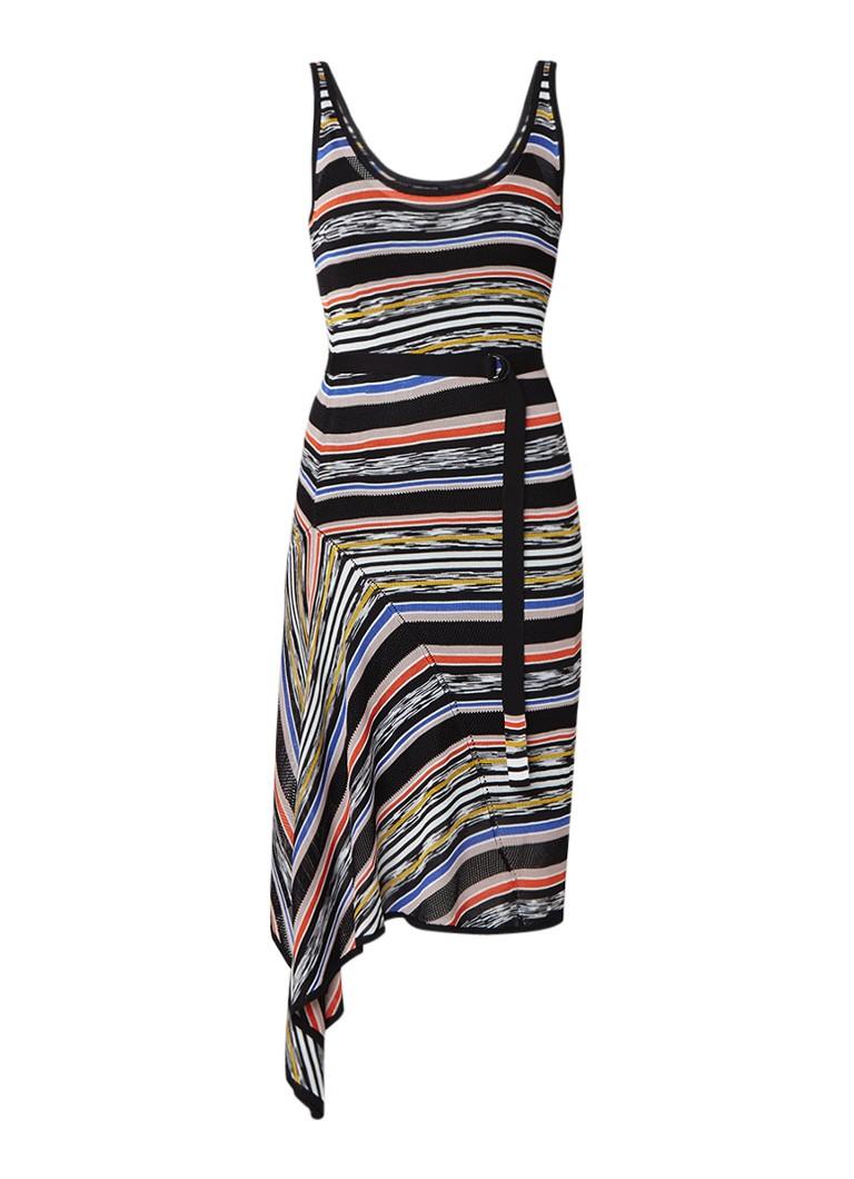 Karen Millen Asymmetrische midi-jurk met ceintuur en streepdessin zwart