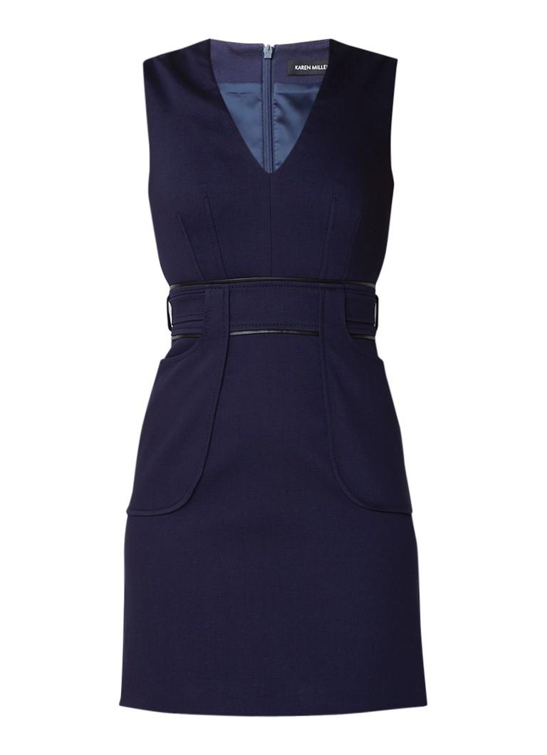Karen Millen Bodycon mini-jurk met siernaad donkerblauw