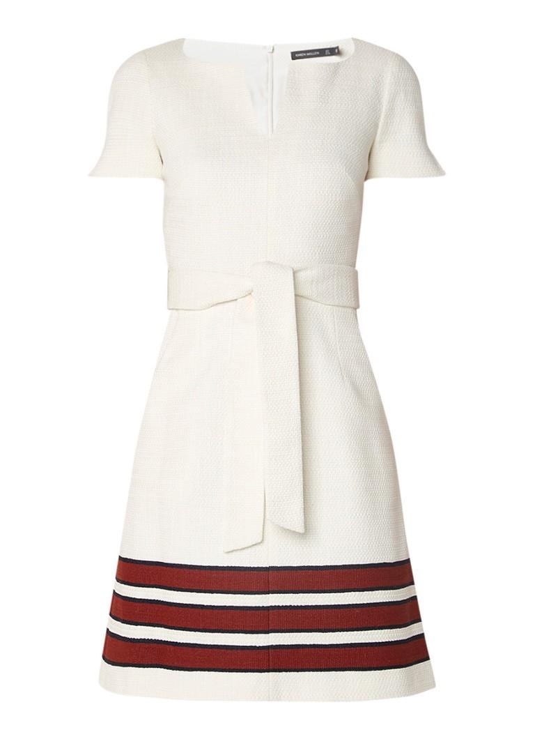 Karen Millen A-lijn jurk van tweed met ceintuur gebroken wit