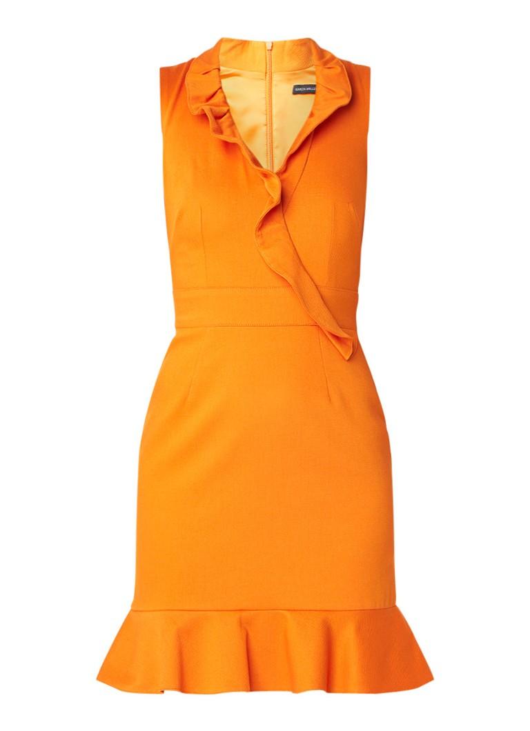 Karen Millen Kokerjurk met volant oranje