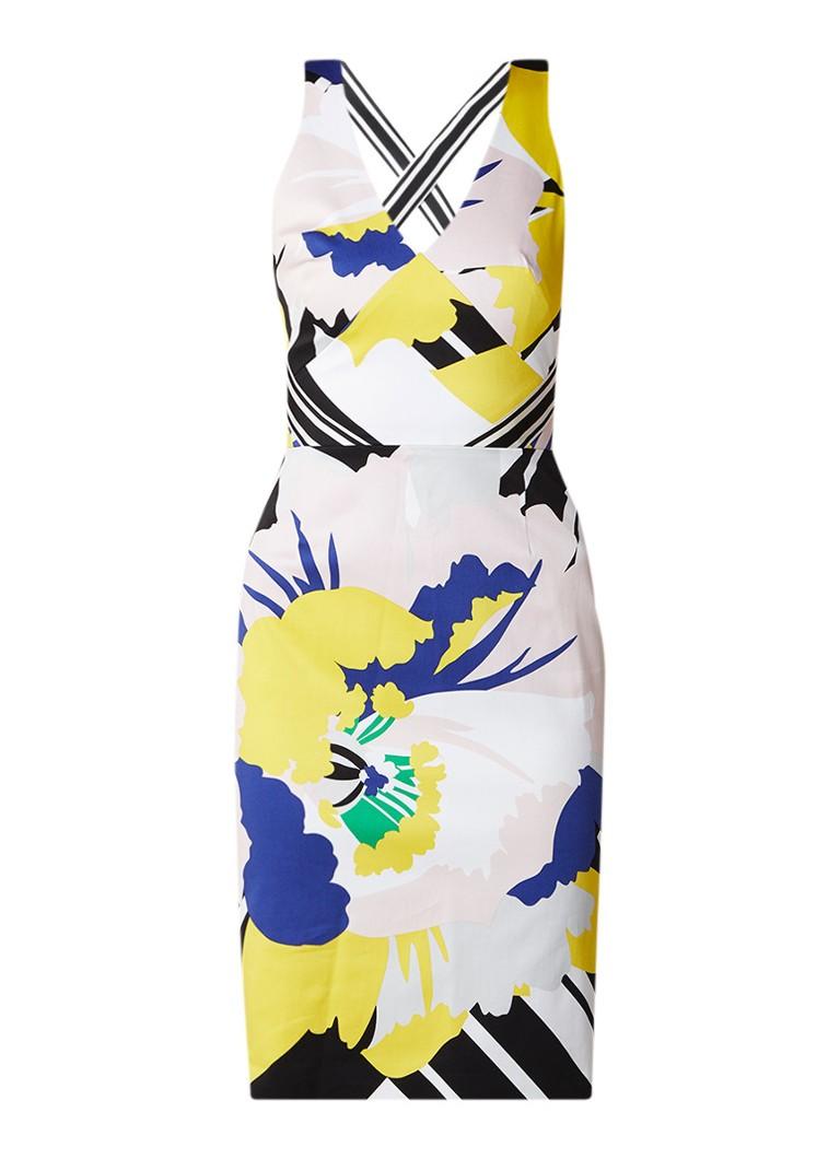 Karen Millen Midi halterjurk met gekruiste banden en bloemendessin wit
