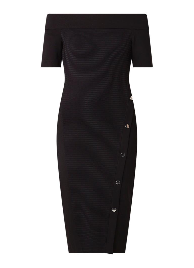 Karen Millen Off shoulder bodycon jurk met ribstructuur en knoopdetail