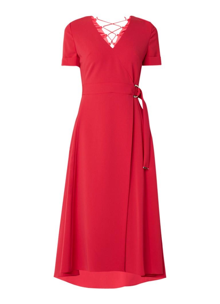 Karen Millen A-lijn jurk met rijgdetail en omslag roze