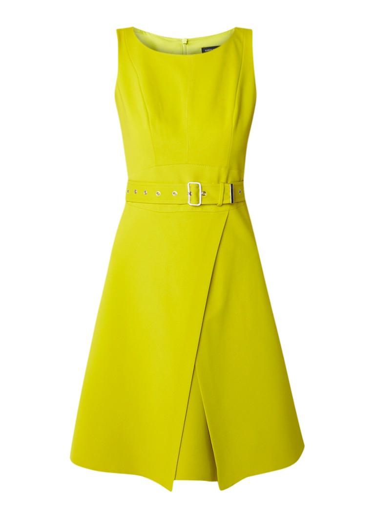 Karen Millen A-lijn midi-jurk met riem en overslag lime