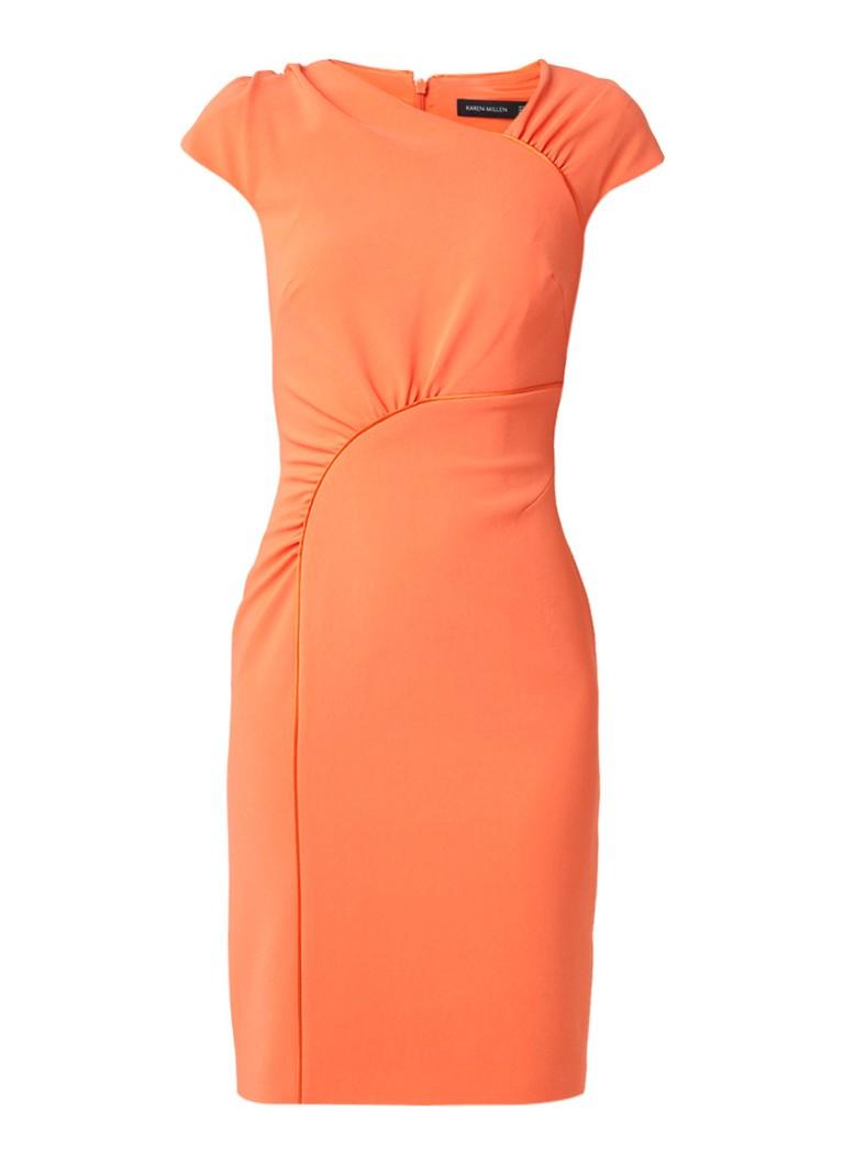 Karen Millen Midi-jurk met aangerimpelde bies van satijn oranje