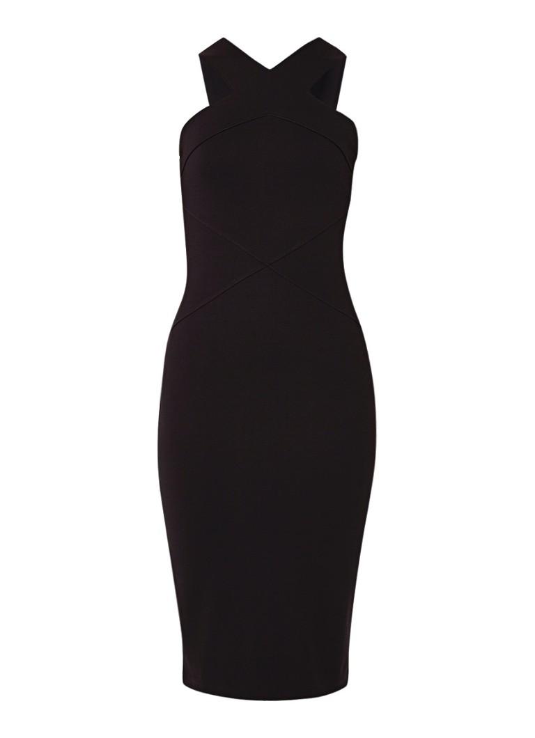 Karen Millen Bodycon jurk van jersey met gekruisde banden zwart