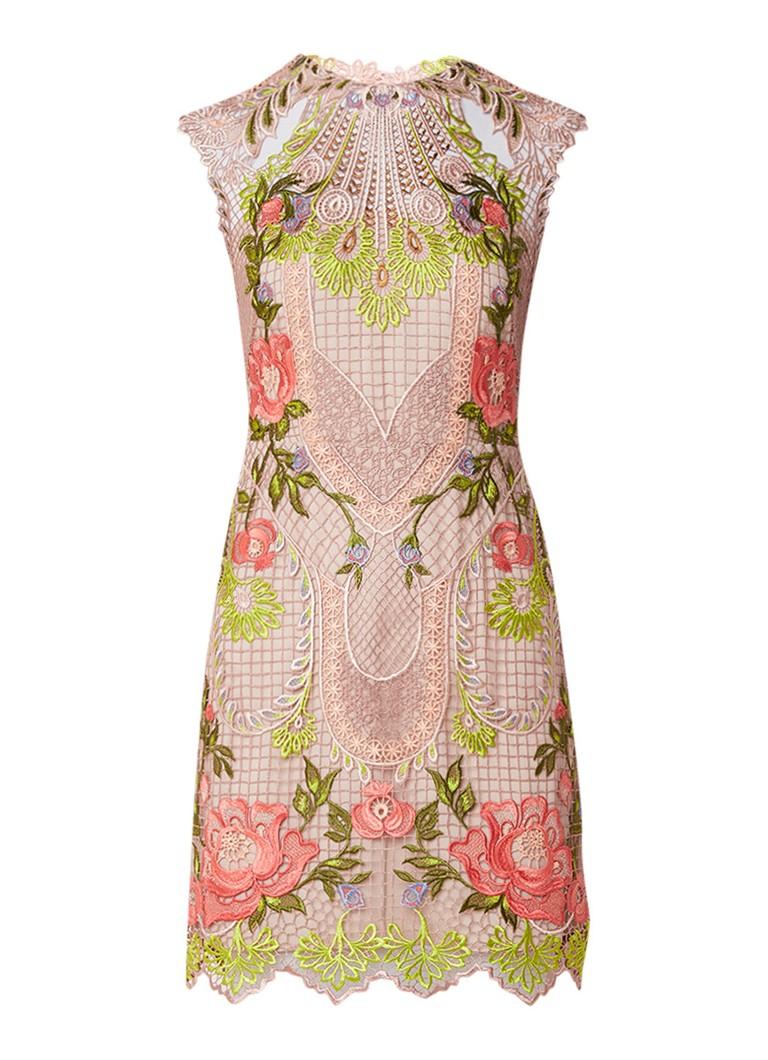 Karen Millen Midi-jurk van guipure kant met bloemendessin multicolor