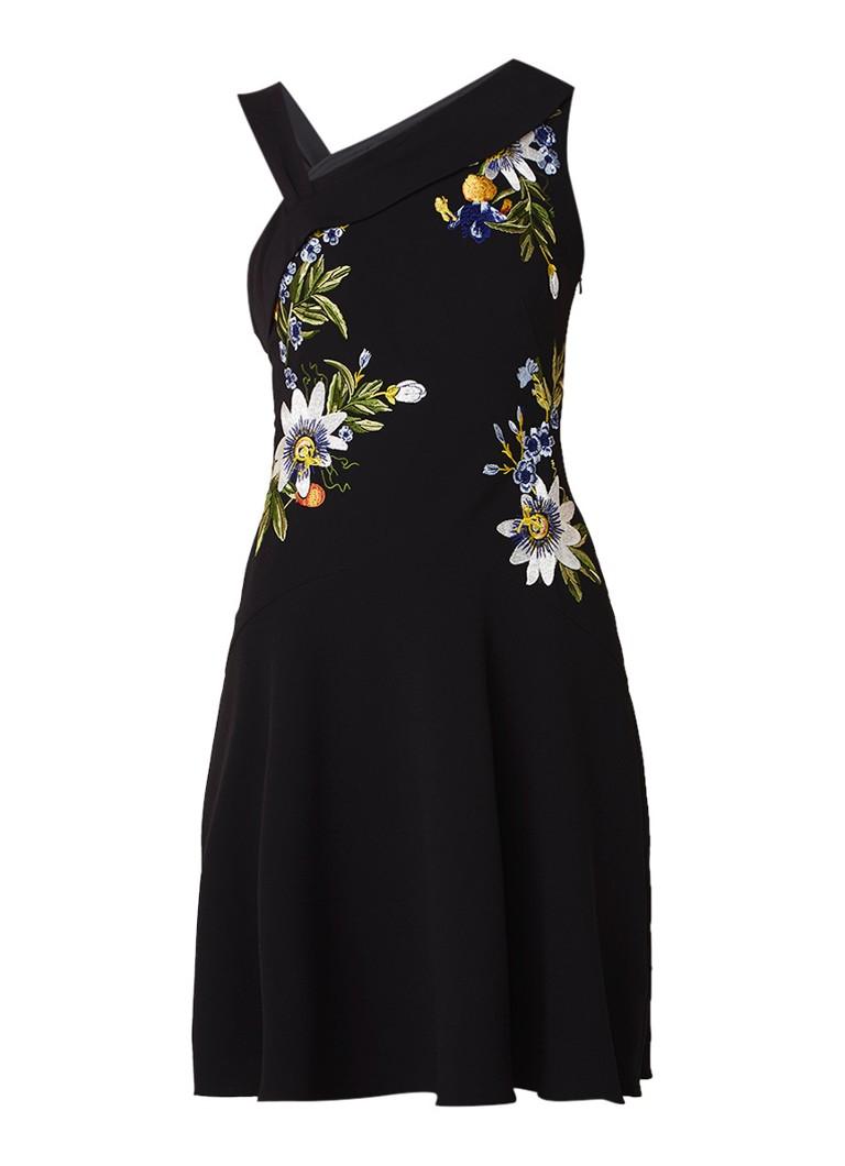 Karen Millen Aymmetrische jurk met bloemenborduring zwart