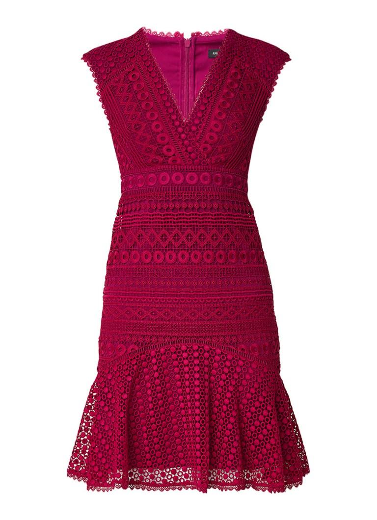 Karen Millen Midi-jurk van guipure kant met volant paars