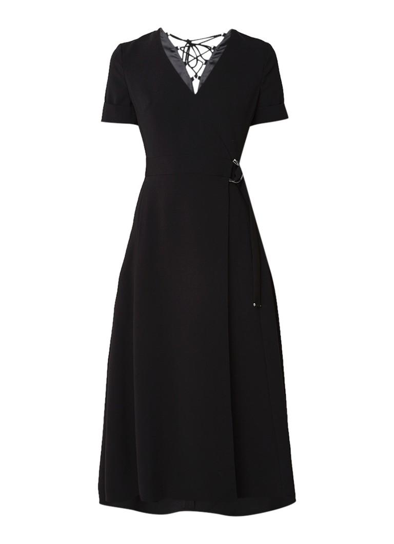 Karen Millen A-lijn jurk met rijgdetail en omslag zwart