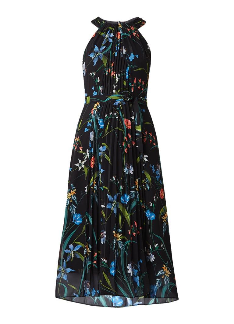 Karen Millen Midi halterjurk met plissé en bloemendessin zwart