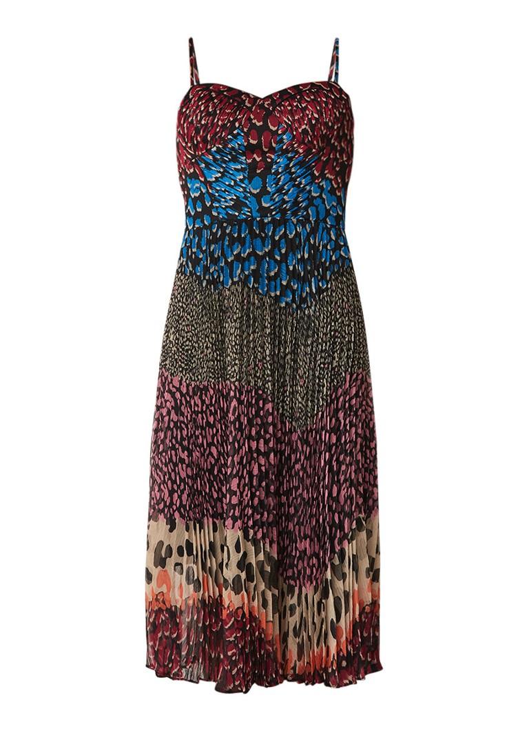 Karen Millen Jurk van chiffon met plissé en luipaarddessin multicolor