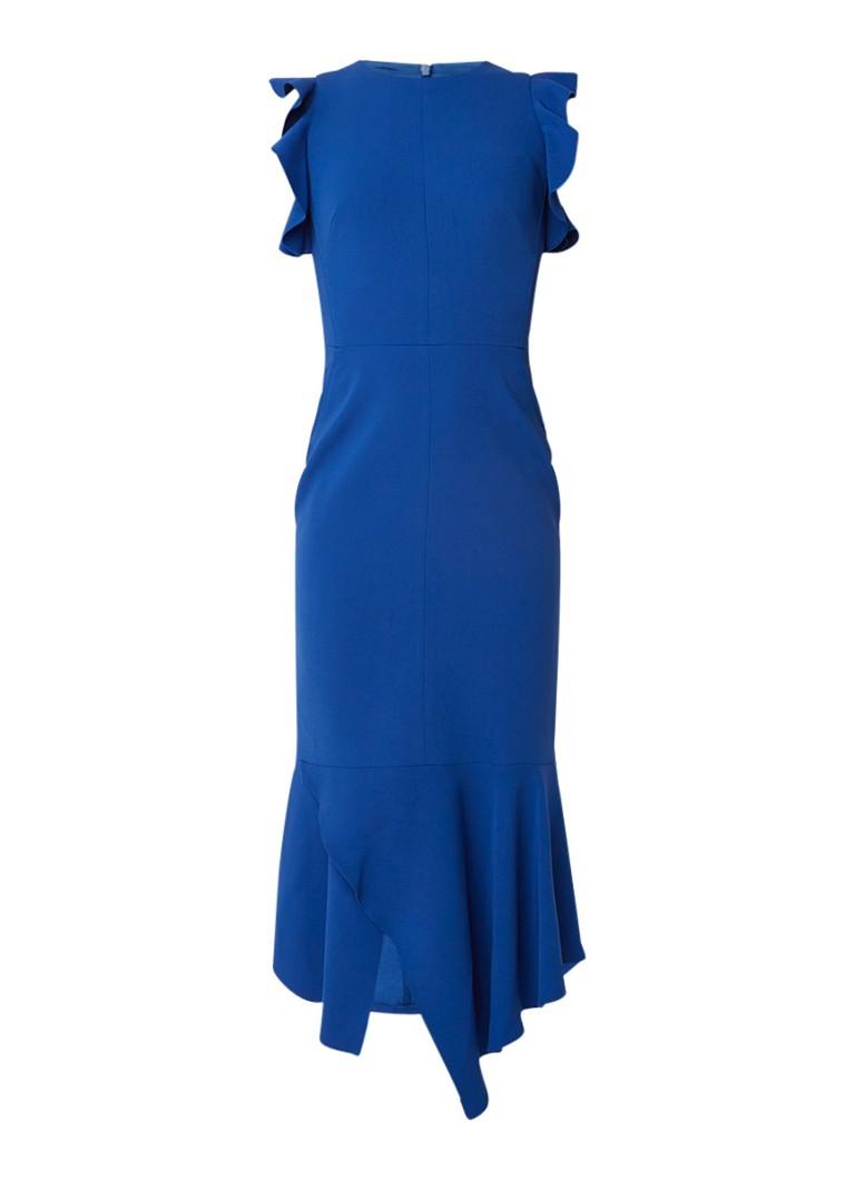 Karen Millen Midi-jurk met volant en siernaden kobaltblauw