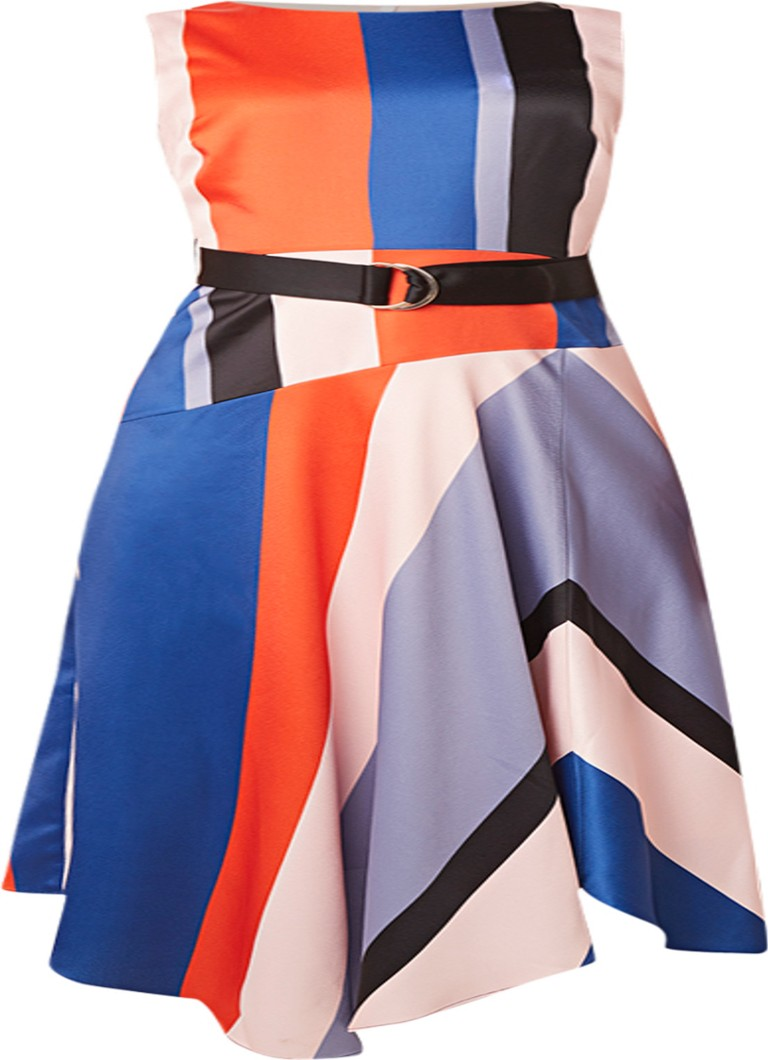 Karen Millen Midi-jurk van satijn met colour blocking multicolor