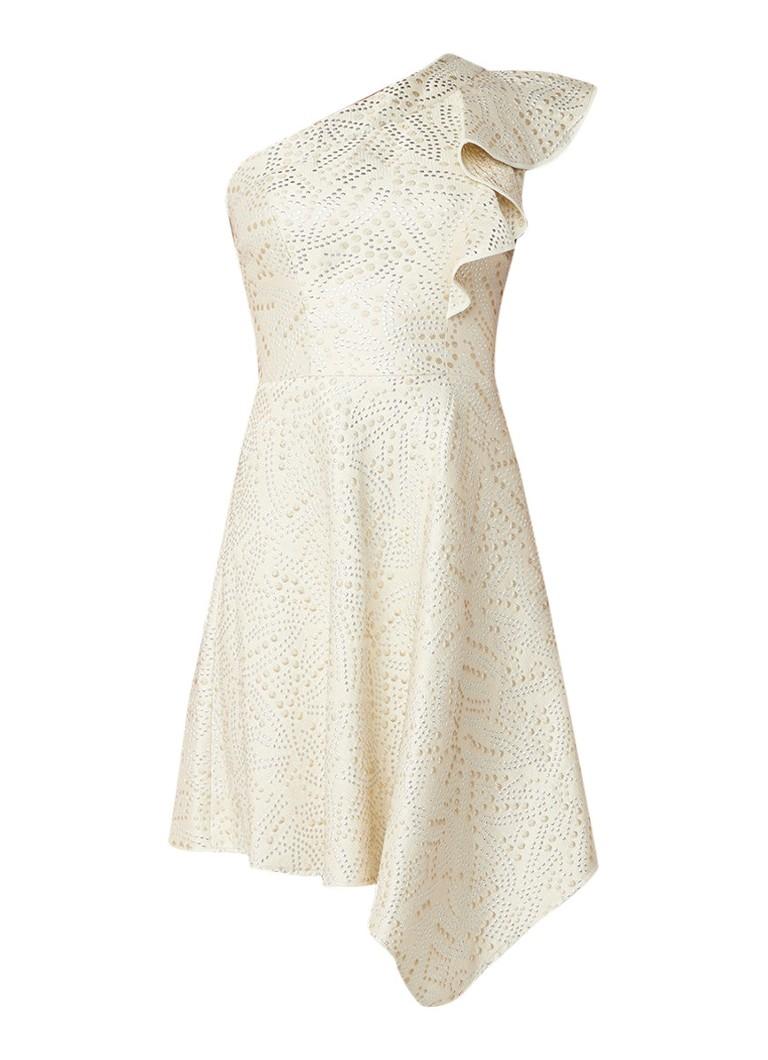 Karen Millen A-lijn one shoulder jurk met volant en lurex