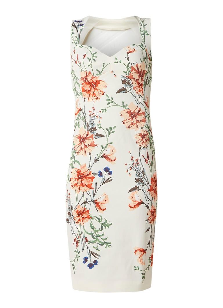 Karen Millen Bodycon midi-jurk met bloemendessin wit