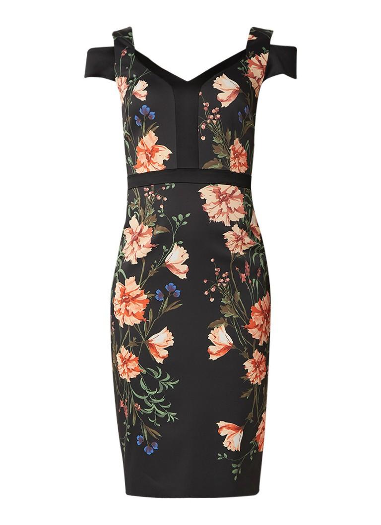 Karen Millen Bodycon midi-jurk met bloemendessin en cut out detail zwart