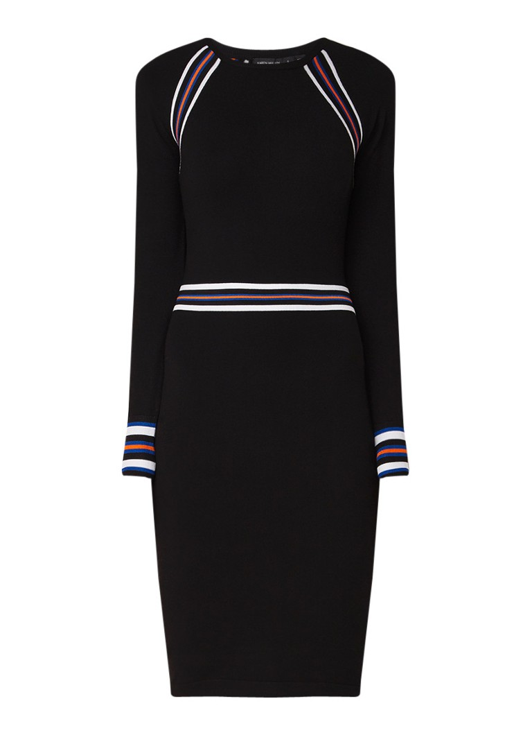 Karen Millen Sporty kokerjurk met streepdetails zwart