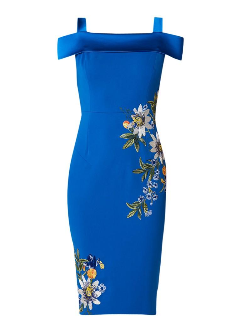Karen Millen Kokerjurk in satijn look met geborduurde bloemen blauw
